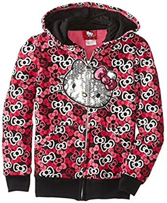 Hello Kitty Big Girls' Hoodie with Sequin , Anthracite, 7