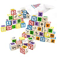 Professor Poplar's Ultimate Alphabet and Number Blocks (50pcs.) with Cloth Storage Bag by…