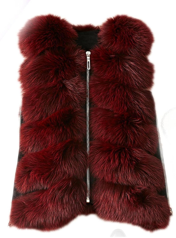 YR.Lover Damen wirklich Ganze Haut Fell Fuchs Pelz Winter Warm Weste&Waistcoat günstig