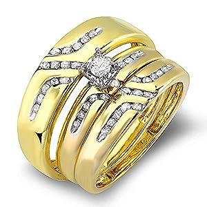 0.55 Carat (ctw) 10K Yellow Gold Round White Diamond Men & Women's Diamond Ring Trio Set (Size 10)