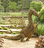 Hand-Crafted Real Grapevine Whimsical Dragon Garden Sculpture, Metal Wire Frame, 42¾L x 23W x 37½H Inches