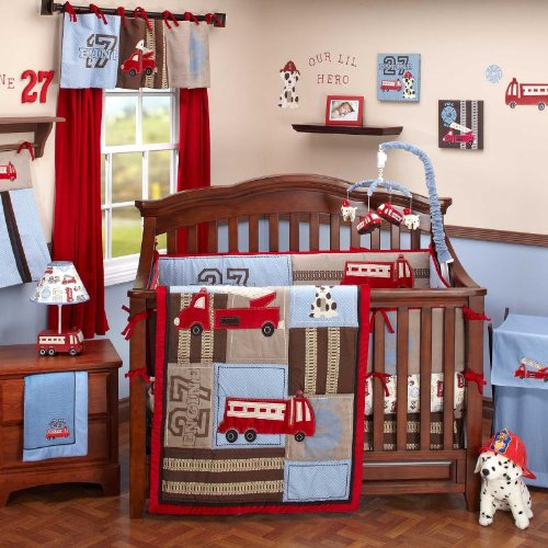 Firefighter themed nursery bedroom decor ideas for Fire truck bedroom ideas
