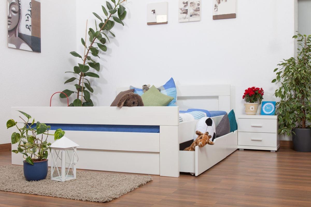 """Jugendbett """"Easy Sleep"""" K6 inkl. 2 Schubladen und 1 Abdeckblende 160 x 200 cm Buche Vollholz massiv weiß lackiert online kaufen"""