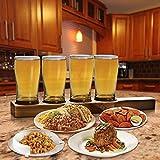 Vintage Beer Sampling Kit: Set of Four (4) 9 OZ. Pilsner Drinking and Tasting Glasses on Wooden Tray