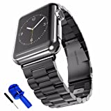 HUANLONG Latest Solid Stainless Steel Metal Replacement 3 Pointers Watchband Bracelet, Black (Color: black, Tamaño: 42mm)