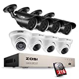 ZOSI 1080P Security System 8 Channel HD-TVI Video Recorder DVR with 8 x 2.0 megapixel Bullet & Dome Waterproof Security Cameras, Day & Night Vision, 2TB Hard Drive, Rmote Access on PC & Smartphone (Color: 8CH+8Cameras+2TB(White), Tamaño: 8CH+8 Bullet Cameras+2TB)