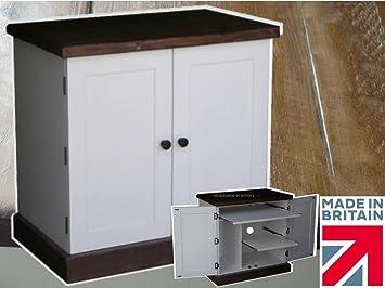 Solid Pine Desk, White Painted & Rustic Pine Contrast, Computer Desk, Workstation, Hideaway, Hidden home office, Bureau. Cottingham Office Range, No flat Packs, No assembly (COTT12)