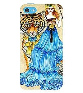 PrintVisa Fashion Tiger Girl Dress Design 3D Hard Polycarbonate Designer Back Case Cover for Apple iPhone 5C