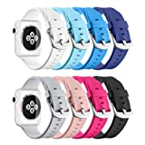 for Apple Watch Sport Band 42mm, UMTELE Soft Silicone Replacement iWatch Bands Sport Strap with Buckle Clasp for Apple Watch Sport, Series 3,Series 2, Series 1, 8 Pack (Color: 42mm, Tamaño: 42mm)