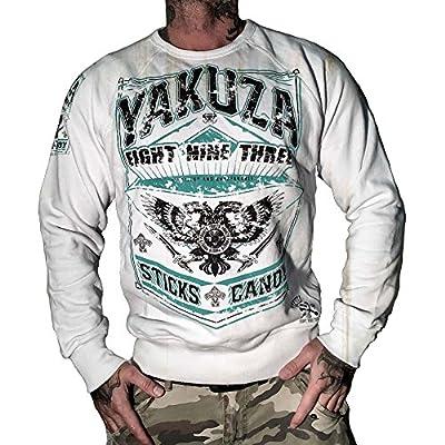 Yakuza Herren Pullover Sweatshirt PB 625 mit Front-Print Sticks & Candy white