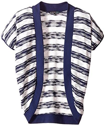 My Michelle Big Girls' Navy Striped Short Sleeve Open Cardigan, Indigo, Small