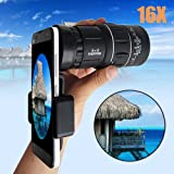 16x52 HD Optical Monocular Telescope Super Clear HD Monocular Dual Focus Optics Zoom Universal Cell Phone Adapters for Camping Traveling Wildlife Viewing