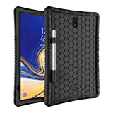 Fintie Silicone Case for Samsung Galaxy Tab S4 10.5 2018 Model SM-T830/T835/T837, [Honey Comb Series] [Kids Friendly] Light Weight Shock Proof Protective Cover with S Pen Holder, Black (Color: Black)