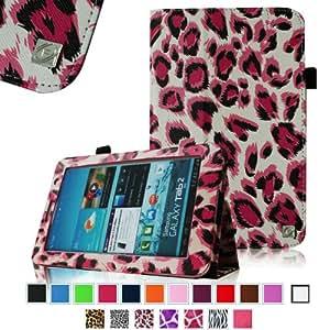 Fintie Slim Fit Folio Case Cover for Samsung Galaxy Tab 7.0 Plus / Samsung Galaxy Tab 2 7.0 Tablet - Leopard Magenta