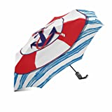InterestPrint Nautical Marine Anchor and Lifeline Automatic Compact Rain Travel Umbrella, Lightweight, Auto Open/Close (Color: Multi 10)