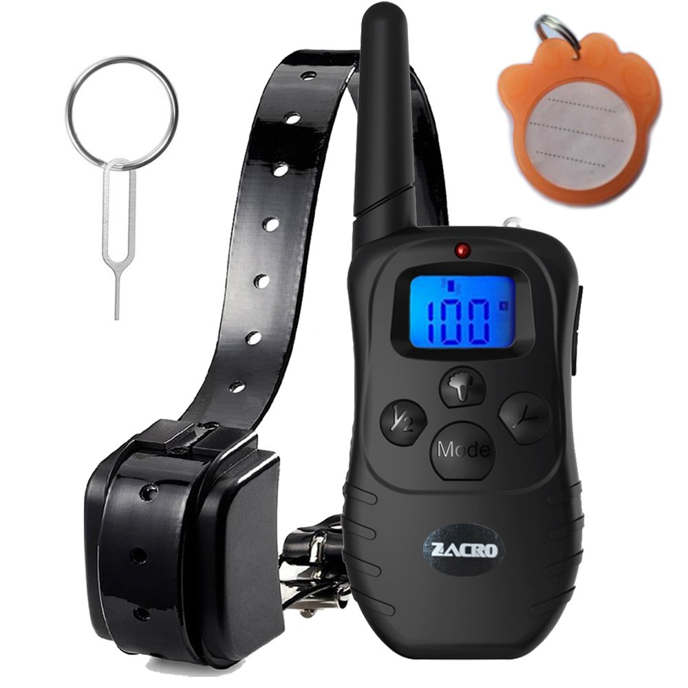 Zacro 330 yard Rechargeable Remote Dog Training Shock Collar, Vibration Shock E-Collar for 15 to 100 lbs, with Static Shock, Vibration, Beep and Light