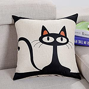 Home Decor Cat Cotton Linen Square Throw Sofa Pillow Case Cushion Cover 18X18 by yongchang