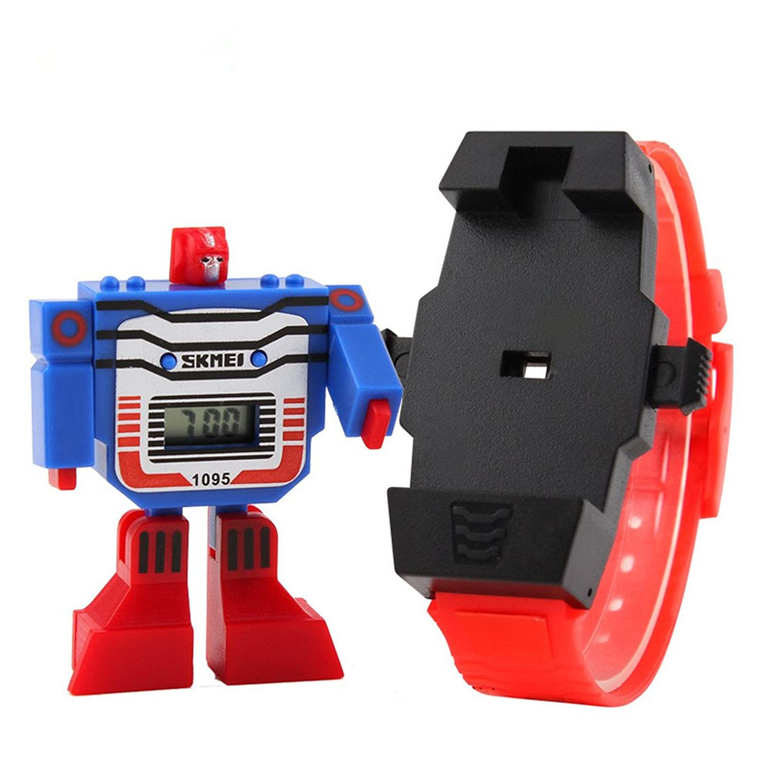 ALPS Kids LED Digital Children Watch Cartoon Sports Watches Robot Transformation Toys Boys Wristwatch