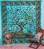 Labhanshi Tree Of Life with Floral Bird Queen 220cm x 240cm Multi-Purpose Throw Tapestry