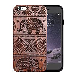 JuBeCo® Patterni Design For iPhone 6/6S Plus(5.5 inch),Handmade Natural Solid Wood Case, Bamboo Case.iPhone Protective Shell (iPhone 6/6s Plus(5.5inch), elephant-rosewood)
