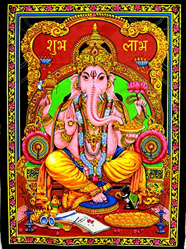 Indian-God-Ganesha-Ganesh-Tapestry-Deity-Art-Uv-Painting-Fabric-Cotton-Wall-Hanging-Large
