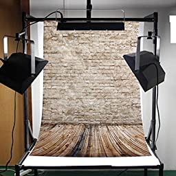 Mohoo 3x5ft Silk Photography Background Beige Brick Wooden Floor Photography Backdrop Studio Props (Updated Materal)