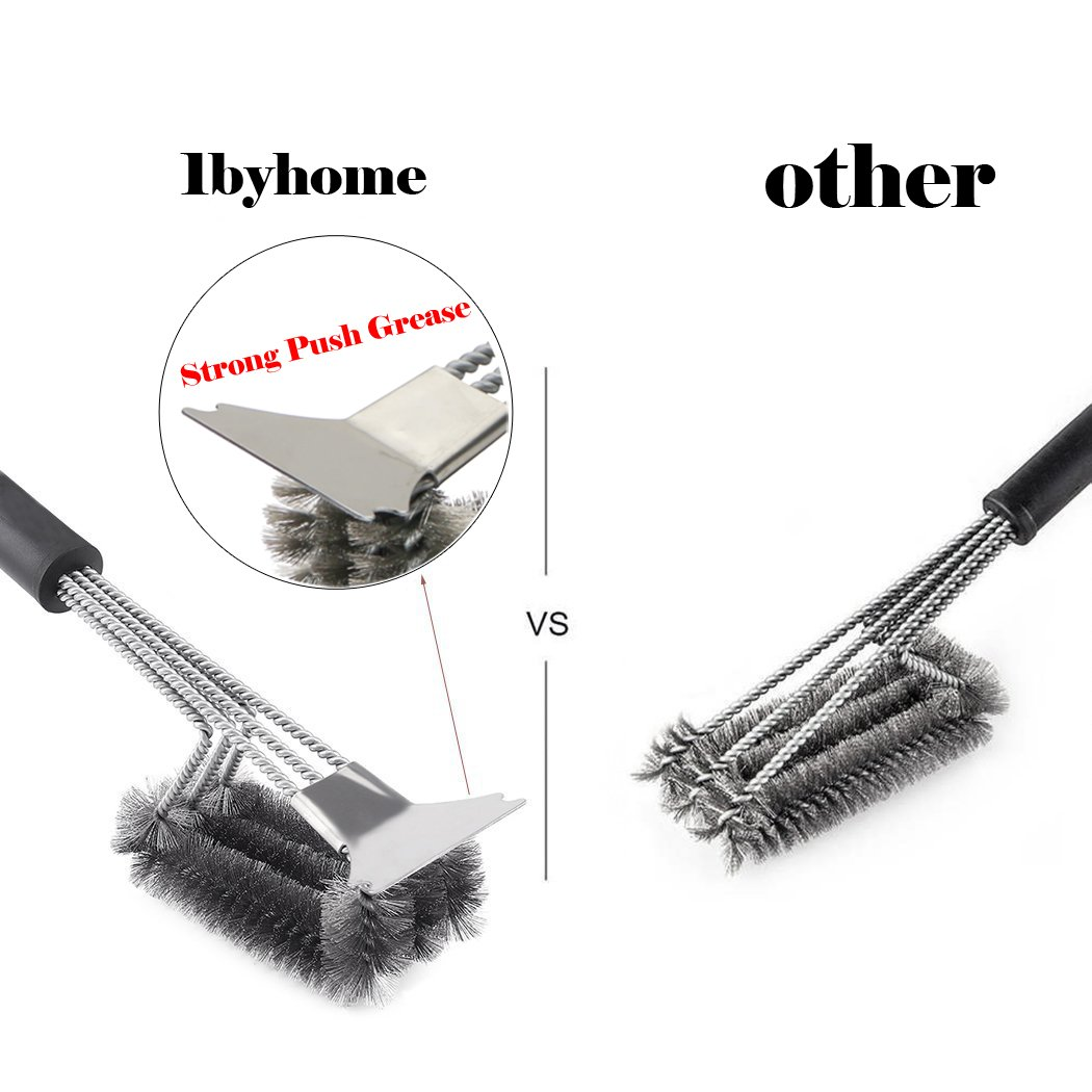 "Barbecue Grill Brush Bristles 18"" Best BBQ Grill Brush Stainless Steel Woven Wire 3 in 1, Durable and Effective, Barbecue Tool"