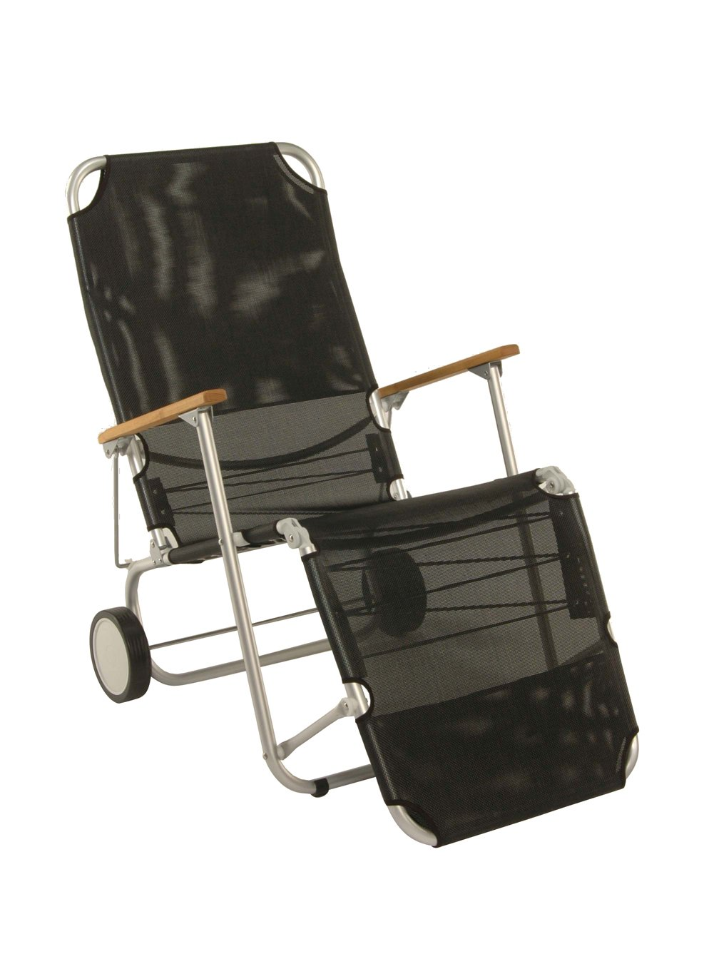 Stern 440701 Beach Carry, Gestell Aluminium mit Teakarmlehnen, Bezug Textilen schwarz günstig
