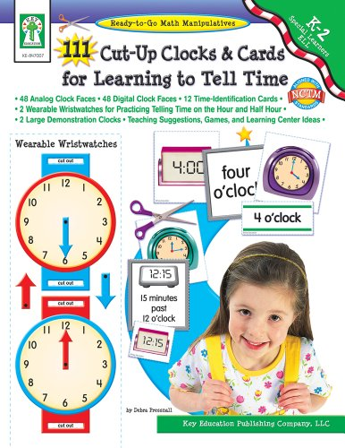 111 Cut-Up Clocks and Cards for Learning to Tell Time: • 48 Analog Clock Faces  • 48 Digital Clock Faces • 12 Time-Identification Cards  • 2 Wearable Wristwatches for Practicing Telling Time on the Hour and Half Hour  • 2 Large Demonstration Clocks  • Tea