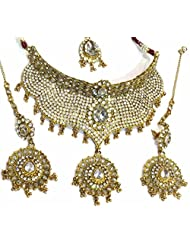 Shingar Jewellery Ksvk Jewels Antique Gold Plated Polki Kundan Look Necklace Set For Women