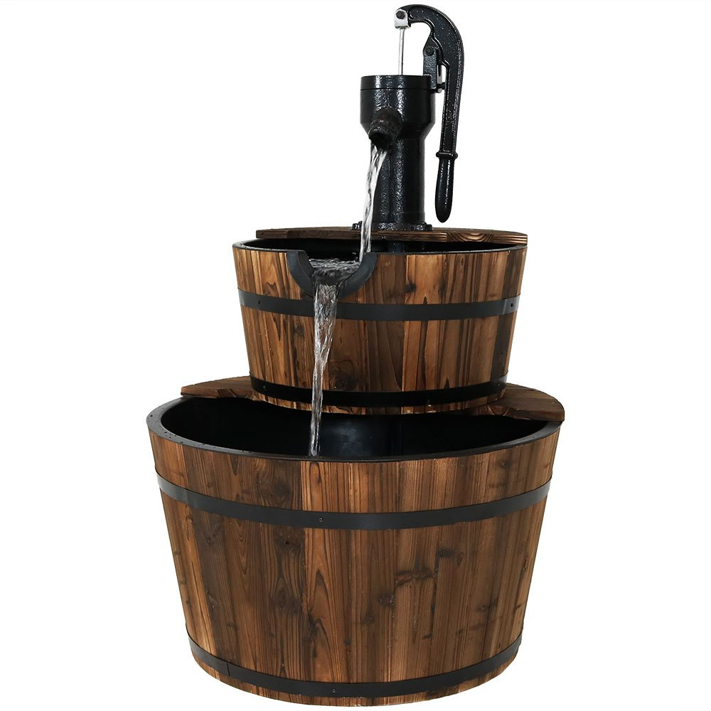 Sunnydaze Rustic 2-Tier Wood Barrel Water Fountain with Hand Pump, 37-Inch