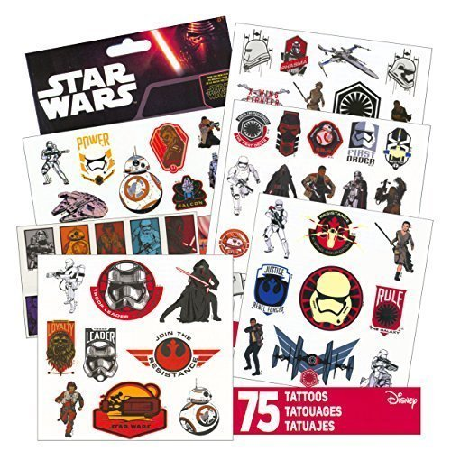 Star-Wars-Tattoos-75-Assorted-Temporary-Tattoos-Kylo-Ren-Rey-Captain-Phasma-Stormtroopers-BB-8-and-More-by-Disney-Studios