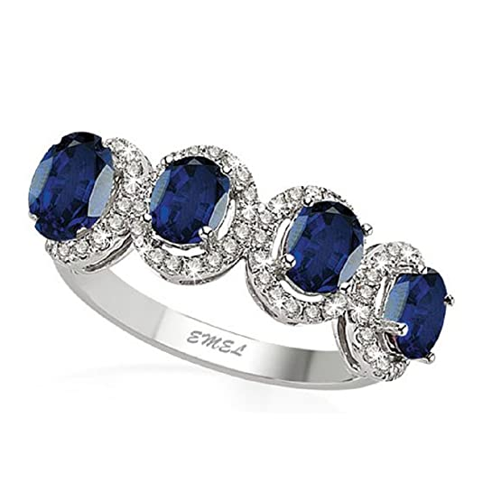 1.52 Carats 18k Solid White Gold Blue Sapphire and Diamond Engagement Wedding Bridal Promise Ring Band