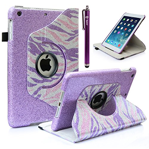 iPad Mini 3 Case, iPad Mini 2 Case, iPad Mini Case, Style4U [Everlasting Shine] Shiny Colorful Zebra Print Design 360 Rotating PU Leather Stand Bling Case Cover with Auto Sleep/Wake Function for Apple