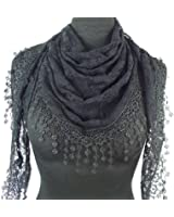 GFM Beautiful Vintage Style Designer Triangle Scarf with Rose or Floral Pattern & Tassel Lace Trim