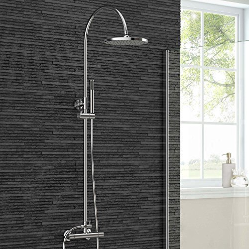 Rigid Exposed Thermostatic Chrome Bar Mixer Shower Set with Handheld Shower Set SV6003