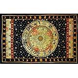"Handicrunch Black Zodiac Horoscope Tapestry, Indian Astrology Hippie Wall Hanging, Ethnic Decorative Art, Celtic Zodiac Tapestry. (85"" x 55')"