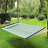 Songmics Garden Patio Hammock Quilted Fabric W Detachable Pillow 2 Person Reversible UGDC34Q