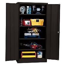 "Sandusky Lee RTA7000-09 Black Steel SnapIt Storage Cabinet, 4 Adjustable Shelves, 72"" Height x 36"" Width x 18"" Depth"