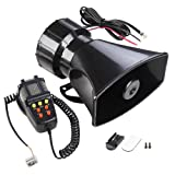 Yescom 7 Sound Loud Horn Car Warning Alarm Police Fire Siren PA Speaker with Microphone Emergency Amplifier (Color: with Microphone, Tamaño: Alarm w/ Speaker)