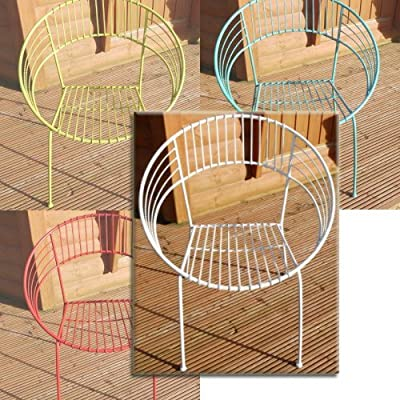 Funky Retro Garden Table And Two Chairs Patio Set Metal Green, Blue, Red, White