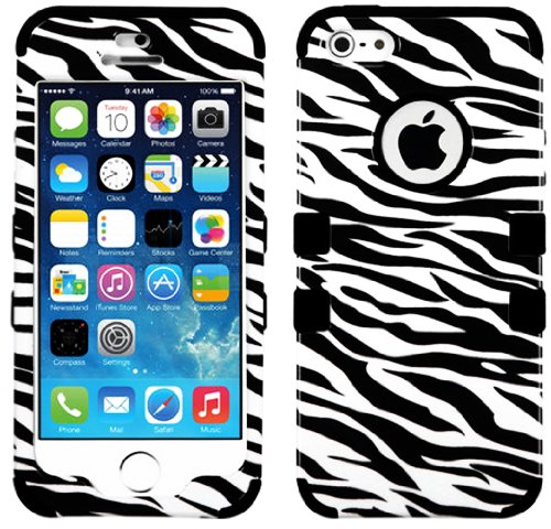 Mylife (Tm) Black - White And Black Zebra Stripe Series (Neo Hypergrip Flex Gel) 3 Piece Case For Iphone 5/5S (5G) 5Th Generation Itouch Smartphone By Apple (External 2 Piece Fitted On Hard Rubberized Plates + Internal Soft Silicone Easy Grip Bumper Gel)