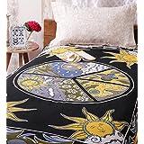 Uttam Enterprises Cotton Single Peace Print Black Color 84X54 Inch Jaipuri Bedsheet