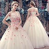 千恵モール ウェディングドレス 安い 妊娠さんもOK カラードレス チューブトップ 可愛い 花付き ふんわり カラードレス ウェディングドレス 結婚式 二次会 演奏 舞台 (XL普通)