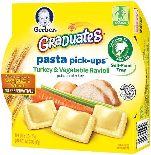 Gerber Graduates Pasta Pick-Ups Ravioli, Turkey and Vegetable, 6 Ounce, 8 Count