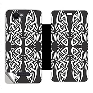 Skintice Designer Flip Cover with a hi-res printed Vinyl Wrap-around for Micromax A120 Canvas 2 Colors, Design - Tribal