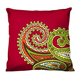 "Product Image 100% Thai Silk Decorative Pillow - Paisley Red (18x18"")"