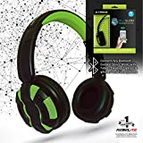 Rebelite Blu Audio Bluetooth Wirless Headphones w/ Powerful Sound & Conference Call Hands-Free Microphone for iPhone, iPod, iPad, Samsung Galaxy, & other smart phones and mp3 players (Glowing Green)