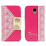 TPT Hot Pink Fashion Sweet Cute Flip Wallet Leather Case Cover for Samsung Galaxy S4 I9500