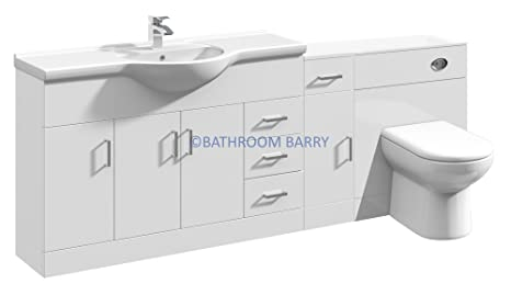 2050mm Modular High Gloss White Bathroom Combination Vanity Basin Sink Cabinet, Cupboard Unit, WC Toilet Furniture & BTW Pan